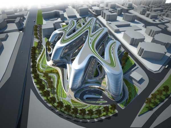 Sky SOHO -02, Shanghai, China by Zaha Hadid... #ZahaHadid: Zaha Hadid Architects, Futuristic Architecture, Architecture Interiors, Parks, Arches, Hongqiao Soho, Blog, Zahahadid, Modern Design