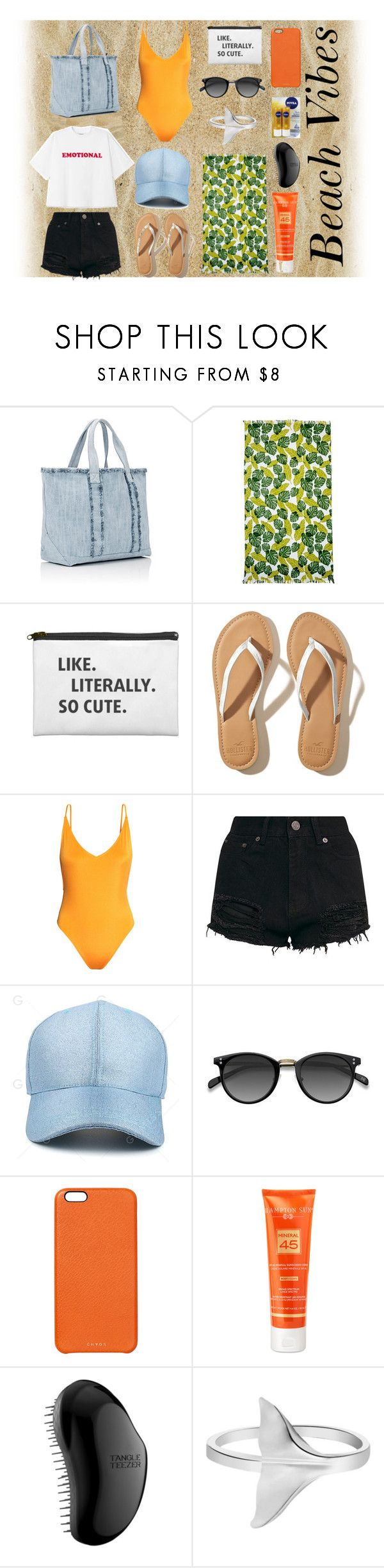 Beach Vibes by sebnemterzioglu on Polyvore featuring moda, H&M, Hollister Co., Barneys New York, Chaos, Hampton Sun, Tangle Teezer, Nordstrom Rack, Nivea and beach