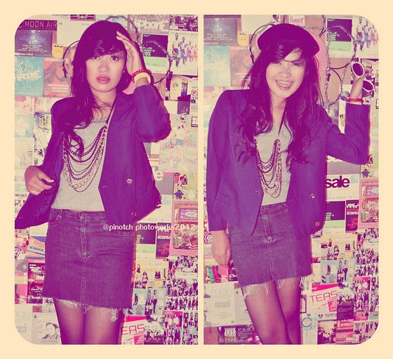 Pinotch12 Blue Korean Blazer, Pinotch12 Gorgeous Necklace, Levi's Mini Skirt Jeans, Unbranded Baret Hat
