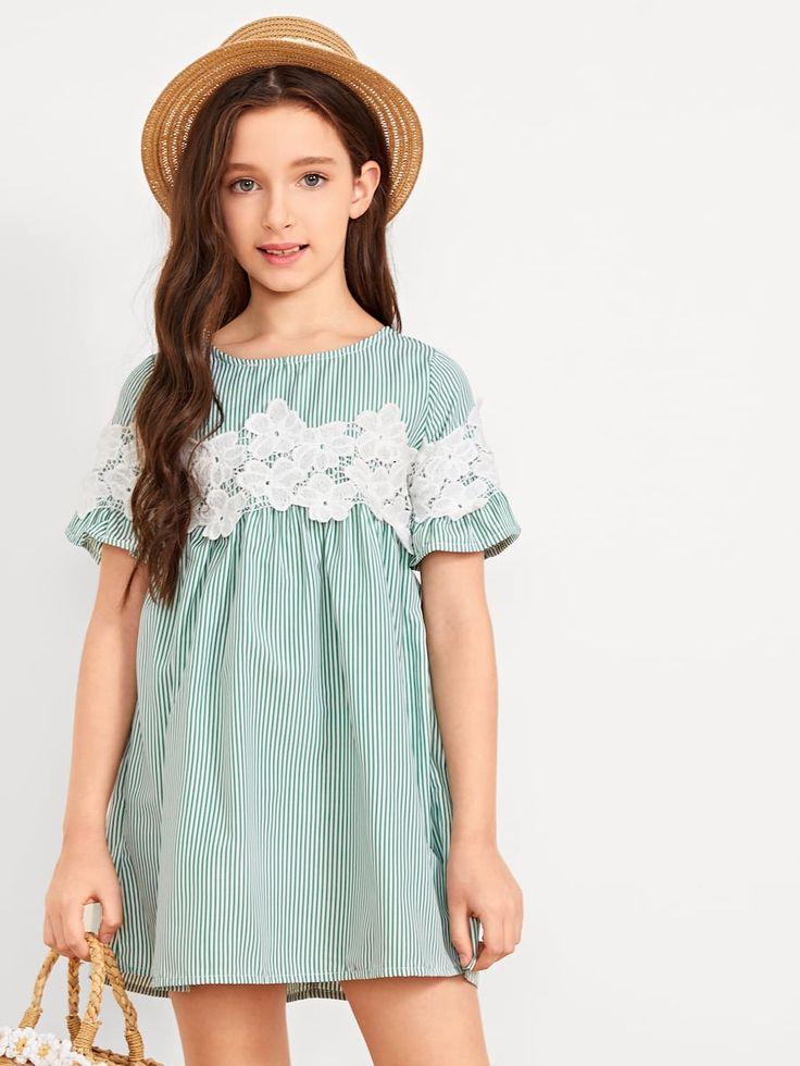 Girls lace appliques ruffle smock dress sheinsheinside