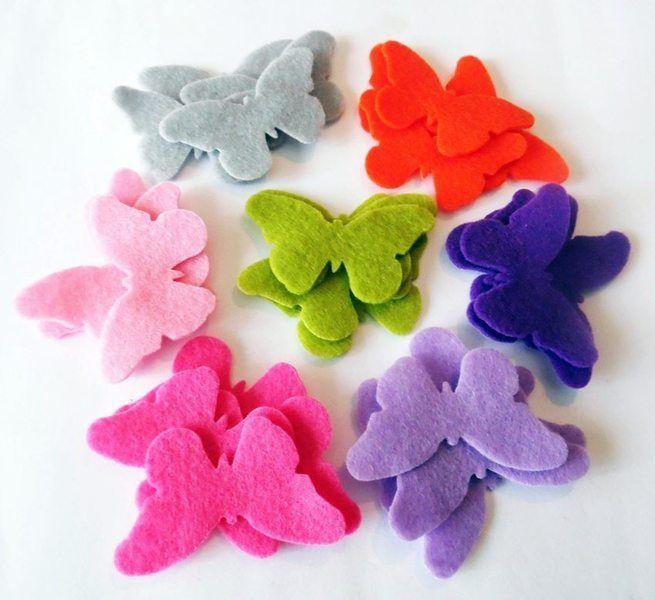 Mariposas de fieltro, pack de 28 piezas. de Planeta Costura por DaWanda.com