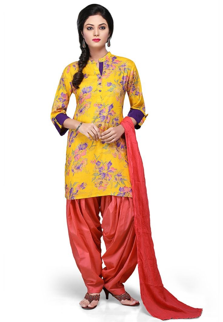 YELLOW RAYON READYMADE KAMEEZ WITH PATIALA