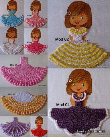 As Receitas de Crochê: Pano de prato boneca com vestidinho de crochê pap                                                                                                                                                     Mais