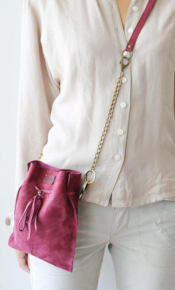 Crossbody bag, Small Leather Bag, Festival Bag, Suede Bag, Leather Waist Bag