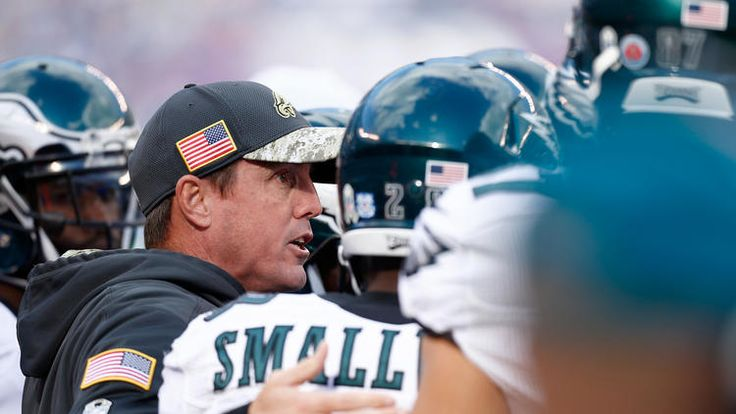 Eagles vs. Giants:  28-23, Giants  -  November 6, 2016  -    Head coach Doug Pederson of the Philadelphia Eagles talks with his team on the sidelines against the New York Giants during the first half of the game at MetLife Stadium on November 6, 2016 in East Rutherford, New Jersey.