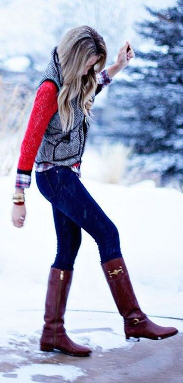 #winter #fashion / red knit + boots