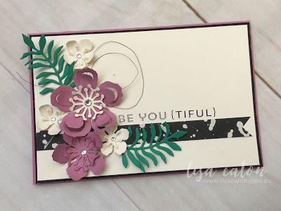 by Lisa Eaton #GDP061 using Flower Patch, Botanical Builder Framelits in Basic Black, Emerald Envy and Sweet Sugarplum.