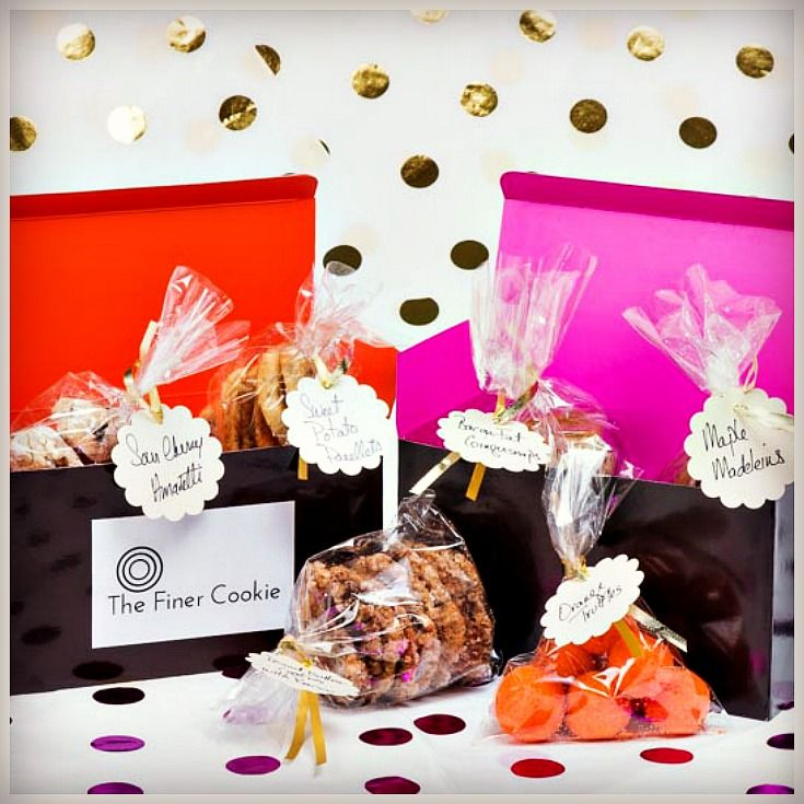 Introducing our Demi-Box cookie box!  Three packages of cookies your choice from The Finer Cookie selection.  #cookies #demibox #gift