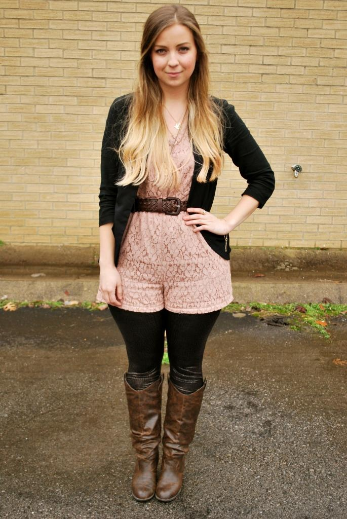 36 best images about Fall clothes on Pinterest   Rompers Long sleeve romper and Tights and boots