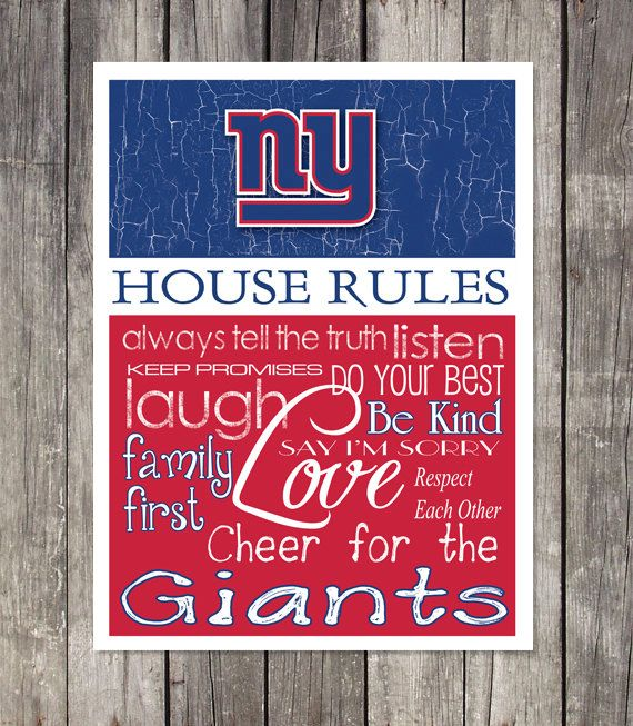 NEW YORK GIANTS Football House Rules Art Print By Fanzoneimprintz