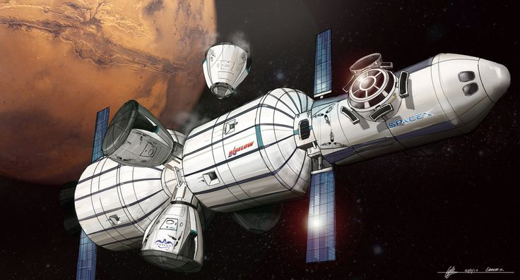 Concept art for SpaceX's Mars Colonial Transporter by Euan Gray - a spaceship with Bigelow inflatable modules and several Dragon landers.