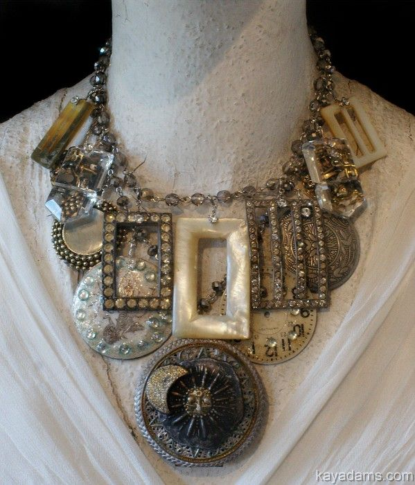 Kay Adams: Idea, Statement Necklace, Vintage Buckles, Antique Button Jewelry, Antique Jewelry, Diy, Vintage Jewelry, Adams Necklace