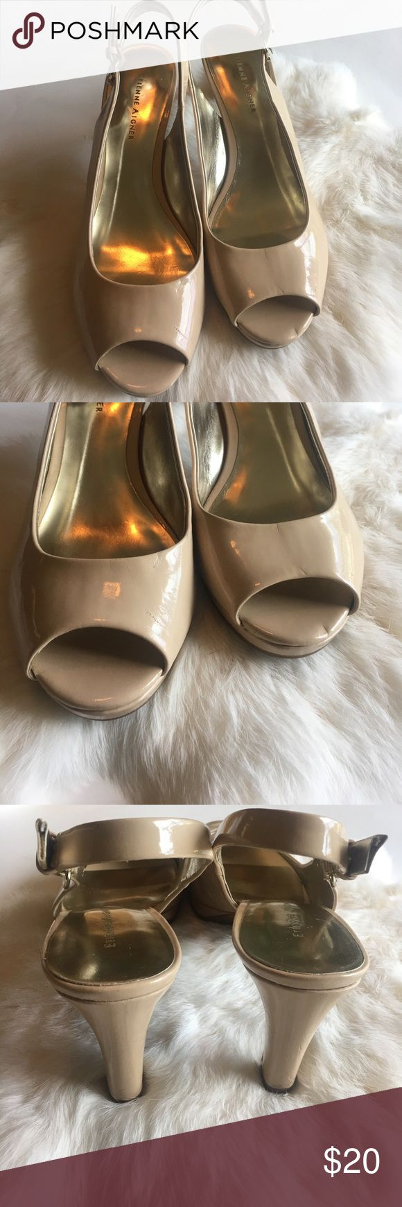 Beige Pumps Super cute beige pumps. All manmade materials. Normal wear. 8.5M. EUC Etienne Aigner Shoes Heels