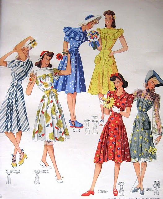 1940s Vintage Fashion ~ 1941 Day Dresses