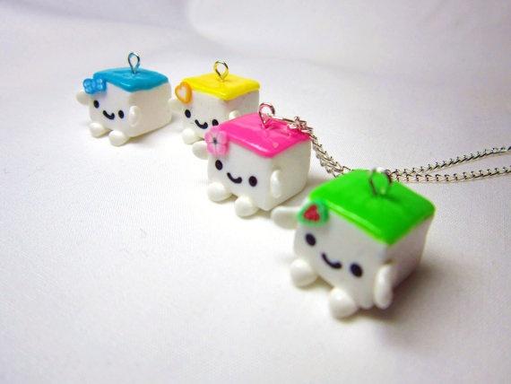 Kawaii Hannari Tofu Pendant Polymer Clay Charm Silver Necklace