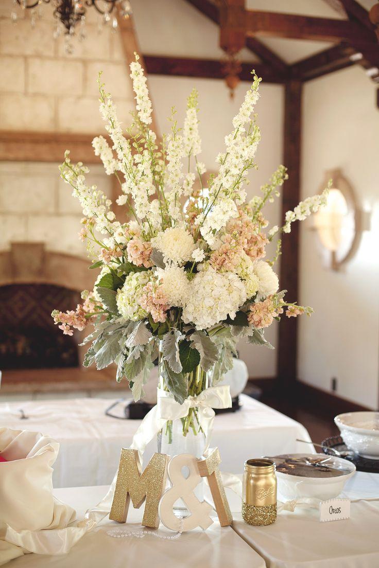 tall ivory blush wedding centerpiece arrangement utah wedding florist calie rose wadley farms wedding www.calierose.com
