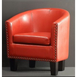Moser Bay Furniture Isabela Faux Leather/Polyester/Wood Barrel Club Chair | Overstock.com Shopping - The Best Deals on Living Room Chairs