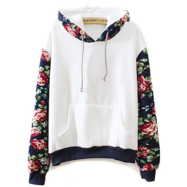 White Floral Long Sleeve Drawstring Hoodie (£29) ❤ liked on Polyvore featuring tops, hoodies, jumpers, jackets, sweaters, shirts, long-sleeve shirt, white long sleeve shirt, hooded long sleeve shirt and shirt hoodies