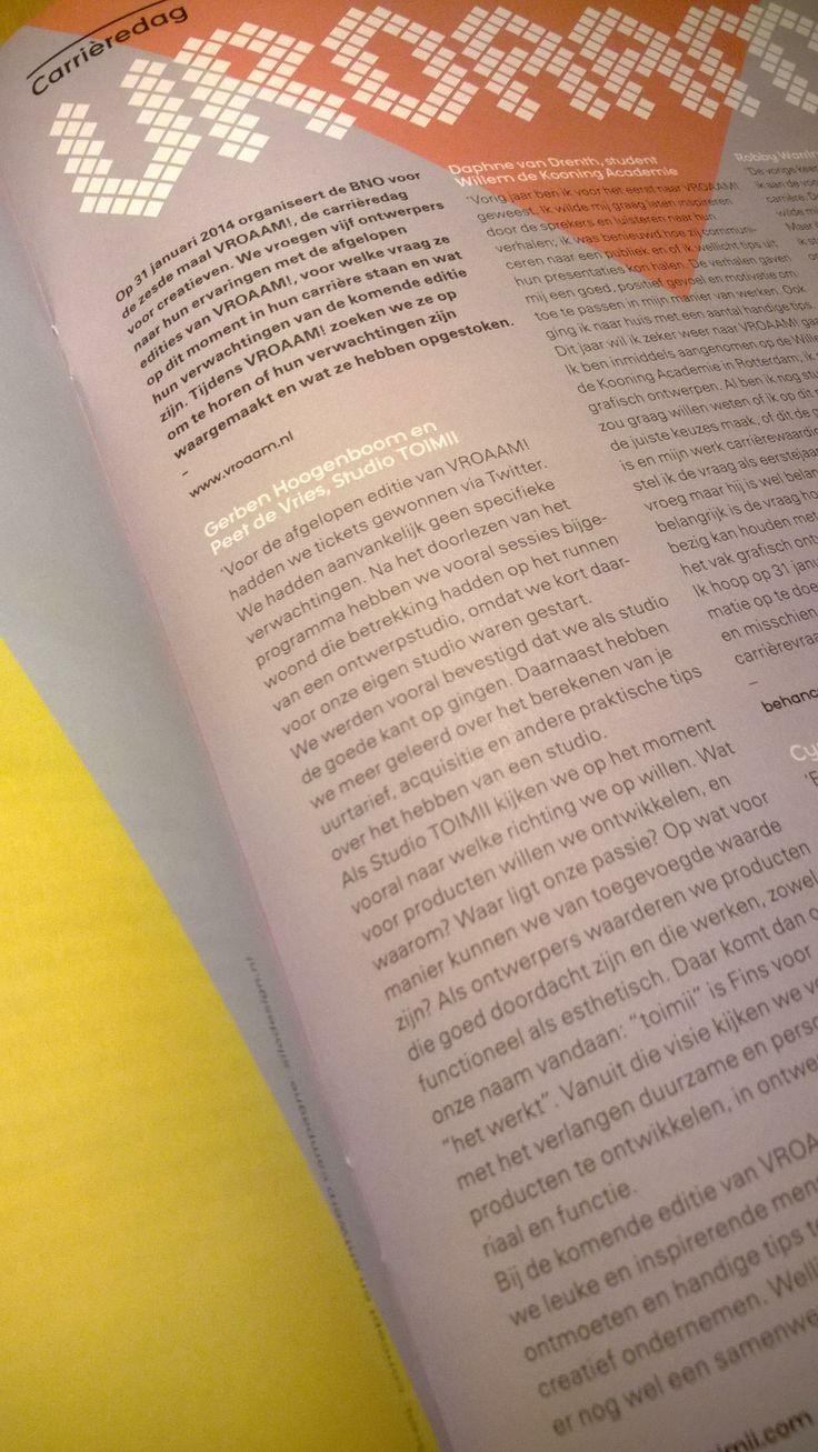 eerste publicatie in landelijk magazine voor ontwerpers van BNO, zo lees je nog eens iets terug van jezelf #vroaam #vormberichten www.studiotoimii.com/publications