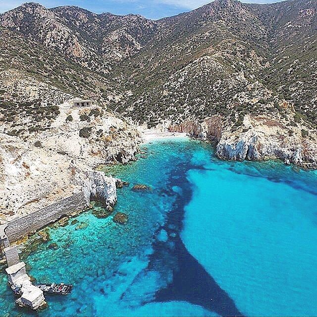 The diamond of the Aegean Sea from above , Polyaigos island (Πολύαιγος). Accessible only by yacht ❤️!