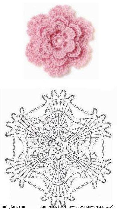 Lace Flower ☀CQ #crochet #crafts #DIY. Thank you for sharing! ¯_(ツ)_/¯