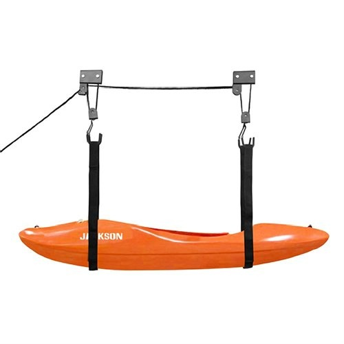 Pulley system for kayaks in garage or carport