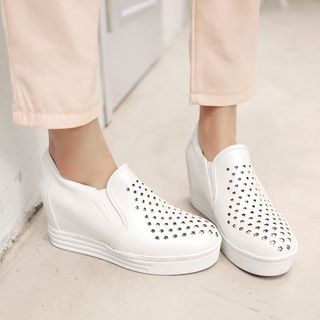Buy Shoes Galore Hidden Wedge Perforated Slip Ons at YesStyle.com! Quality products at remarkable prices. FREE WORLDWIDE SHIPPING on orders over US$ 35.