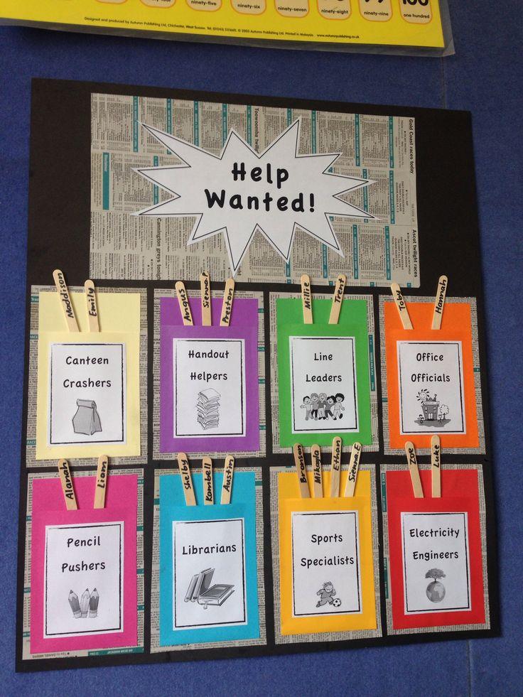Classroom Job Ideas For Kindergarten ~ Best ideas about school job chart on pinterest