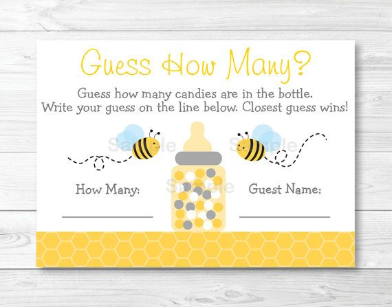 Bumble Bee Guess How Many Baby Shower Game By LittlePrintsParties