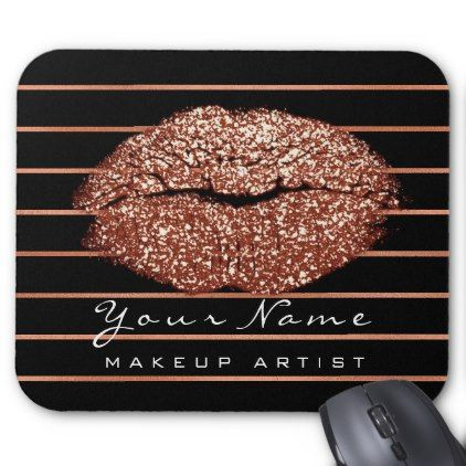 Copper Rose Gold Stripes Name Makeup Lips Kiss Mouse Pad - glitter gifts personalize gift ideas unique