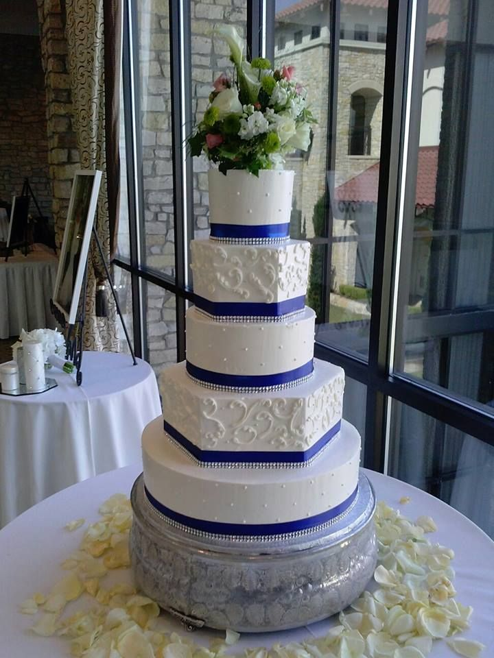 Royal blue wedding cake, hexagon and round buttercream wedding cake
