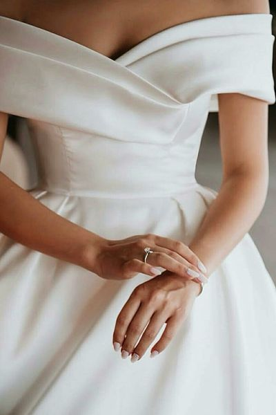 Off-the-shoulder Satin Ball Gown Wedding Dress with Beaded Appliques Train