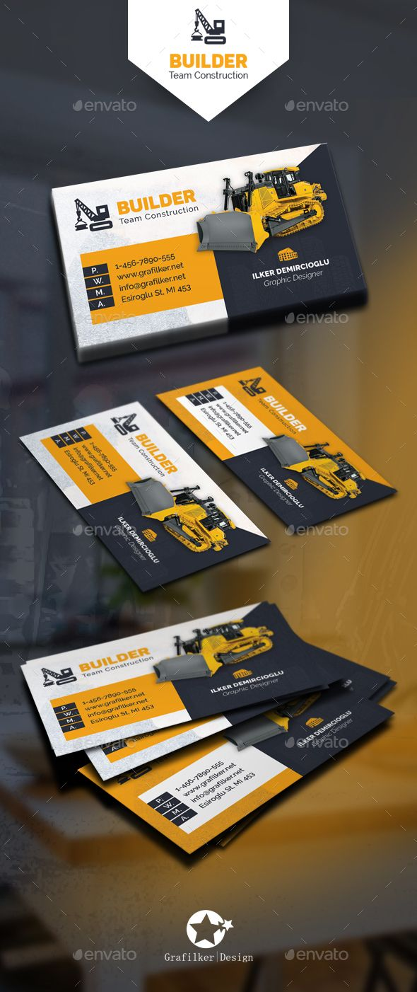 Construction Business Card Templates — Photoshop PSD #forwarding #conveyance • Available here → https://graphicriver.net/item/construction-business-card-templates/13962017?ref=pxcr