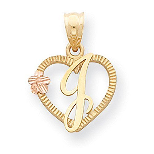 14k Two Tone Yellow Gold Letter J Initial With Rose Gold Flower Inside Open  Heart