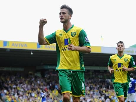 ~ Ricky van Wolfswinkel of Norwich City celebrating his goal against Everton FC ~