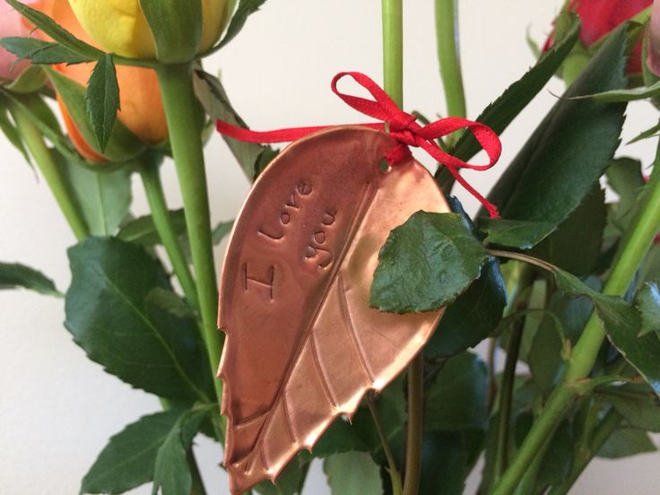 Copper Rose Leaf with personal message. Write on the copper with a biro. #wedding #personalisation #personalised #rose #leaf #copper