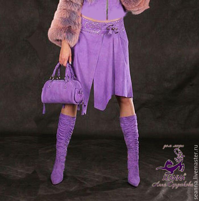 """Купить Роскошная юбка из натуральной замши """"Сиреневая бархатистость"""" в любом - сиреневый, замшевая юбка"""