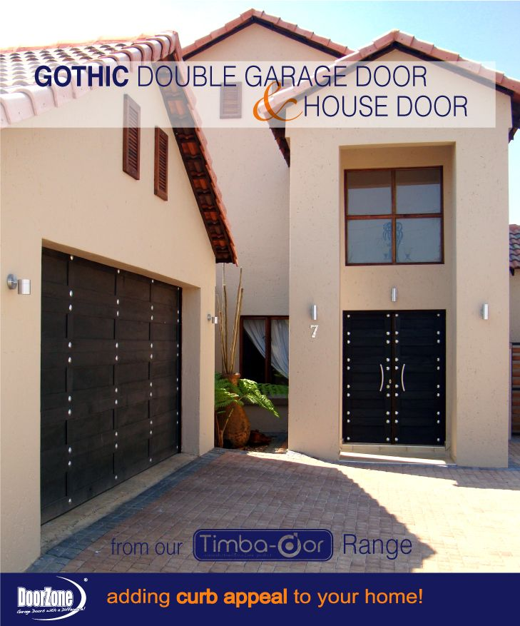 There is no reason to settle for the traditional type of garage door when you can have this extraordinary Gothic Style Garage door with a matching pair House Door to add that much needed curb appeal to your home. To add to the drama of the black colour, Round Kram Decorative hardware was added to finish off the look.  www.doorzonesa.com