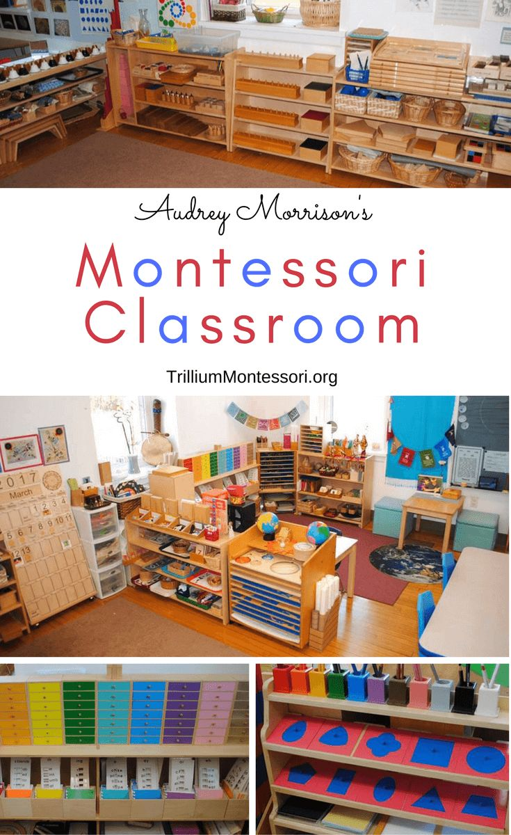 Take a look at what's on the shelves in Audrey's Montessori classroom: Language, Sensorial, Math, and Cultural inspiration for your Montessori environment.