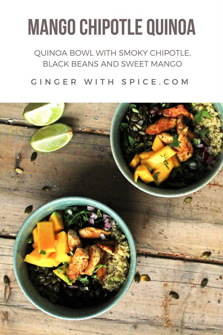 A quinoa bowl filled with healthy and delicious ingredients such as sweet mango, spinach, black beans and a burst of chipotle flavor!