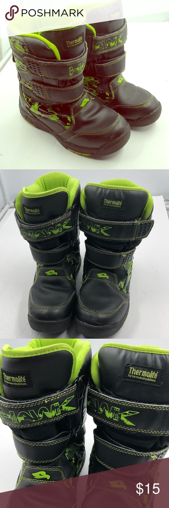 Tong Hawk black Neon Winter Boots 4 4Y Very cool Tony Hawk black and neon green winter boots.  Double velcro closures.  Thermolite performance insulation.  Big boy's size 4.  Bundle discount.  Fast shipping. Tony Hawk Shoes Boots