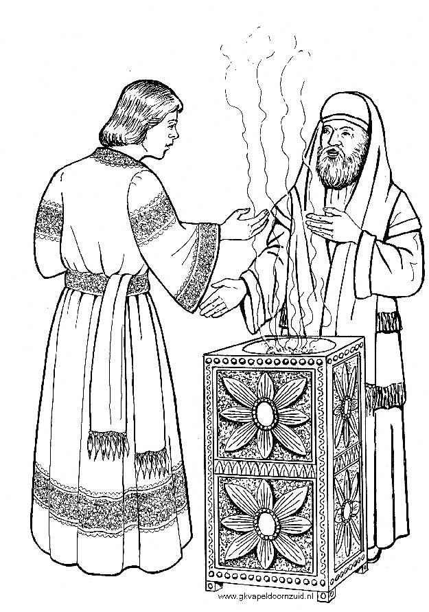 de engel bij zacharias kleurplaten bijbelknutselwerk