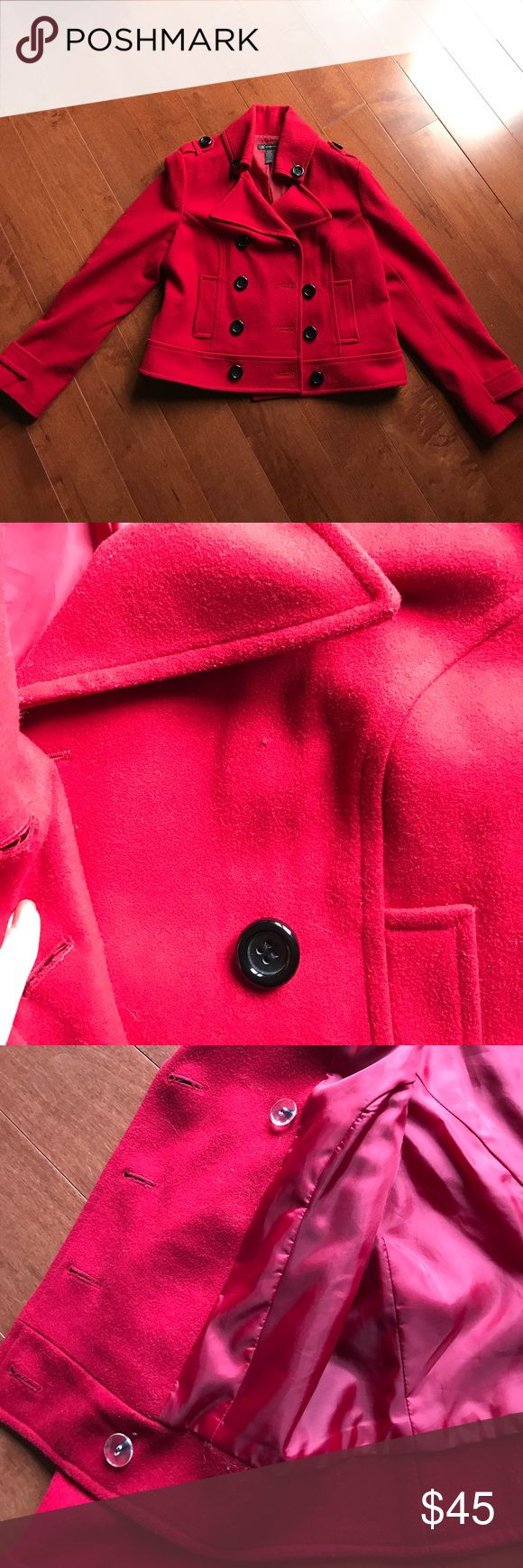 Red Pea Coat INC international concepts red Pea Coat. Missing one button (see picture). Cannot find button pack😑 price reflects flaw. Open to offers! INC International Concepts Jackets & Coats Pea Coats