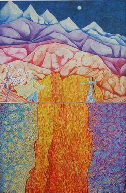 """Saatchi Art Artist Lola Lonli; Painting, """"Oriflamma canyon"""" #art"""