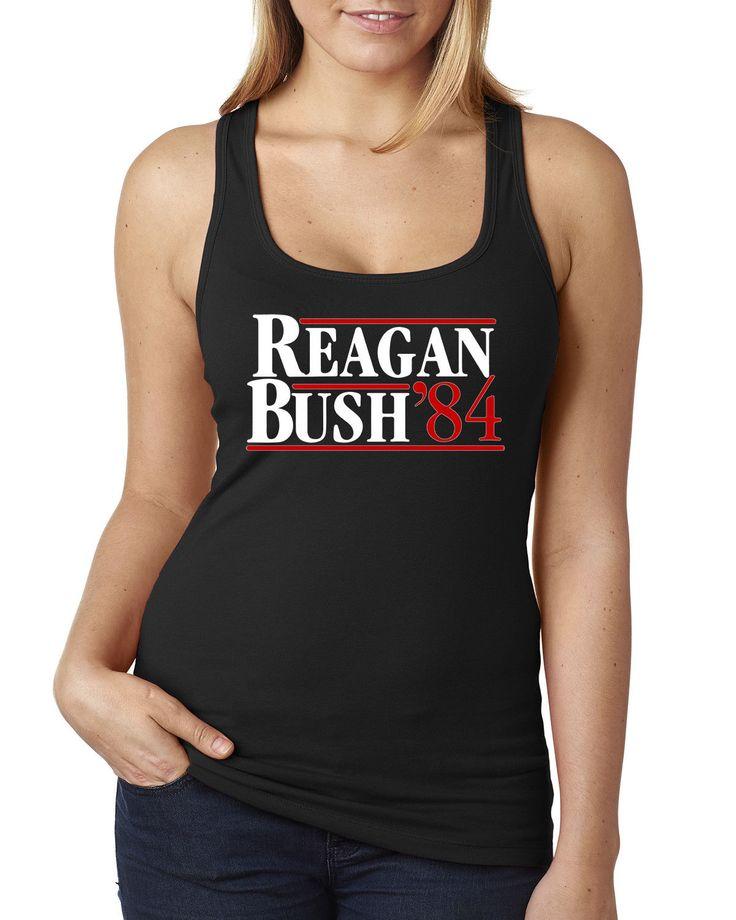 Reagan Bush 84 Retro Ladies Racerback Terry Tank Top Election 1984 S-2Xl