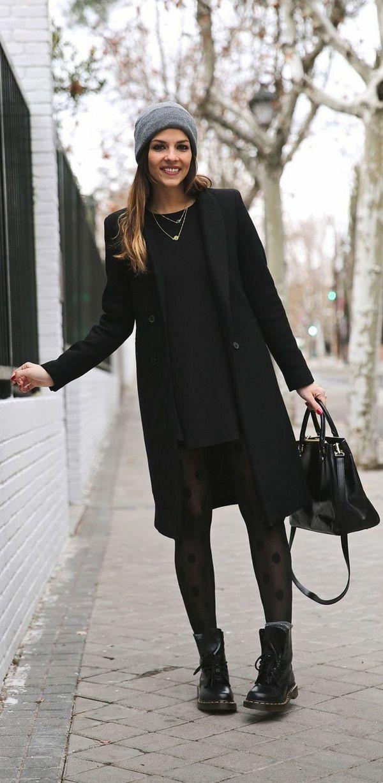 Зимняя мода уличные женщин пальто классический черный Модель