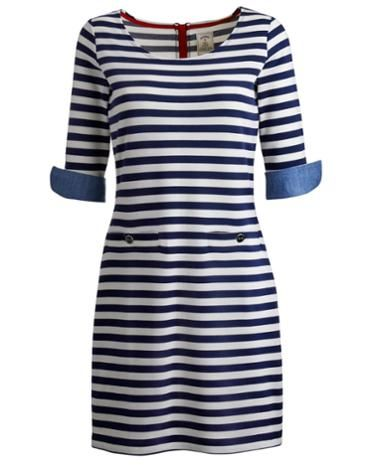 Joules Womens Dress, Indigo Stripe.                     Capturing the nostalgic side of small English seaside towns, this dress is set to be a great coastal companion. The chambray trims and button detail lift it out of the ordinary. Crafted with the finest cotton to give it a true summer feel.