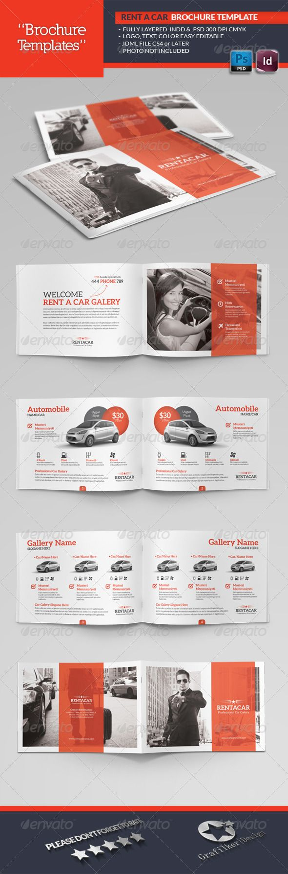 Rent A Car Brochure Template #GraphicRiver Rent A Car Brochure Template Fully layered INDD Fully layered PSD 300 Dpi, CMYK IDML format open Indesign CS4 or later Completely editable, print ready Text/Font or Color can be altered as needed All Image are in vector format, so can customise easily Photos are not included in the file Font File: Aleo Font: .behance /gallery/ALEO-Free-Font-Family/8018673 Lato Font: .fontsquirrel /fonts/lato Social-Logos: .dafont /social-logos.font Help.txt file…
