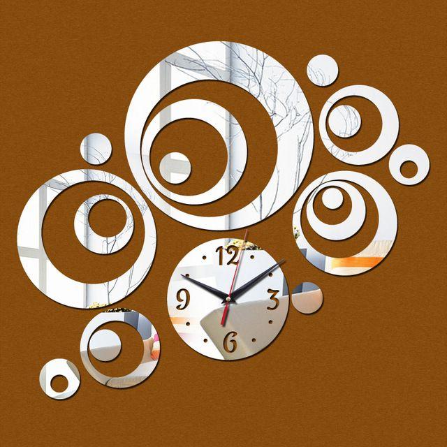 Venta caliente 2016 nueva decoración del hogar de acrílico espejo anillo grande etiqueta engomada del diseño moderno del reloj de pared relojes de venta directa envío gratis
