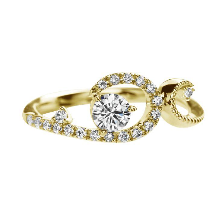 アンヴロペ Envelopper-エンゲージリング-イエローゴールド-メレダイヤ ... 婚約指輪 エンゲージリング アンヴロペ